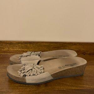 Grunland Beige Suede Slip On Velcro Pom Sandals